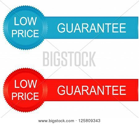 Low price guarantee red and blue labels vector