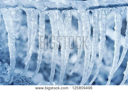 Spring background of bright transparent icicles close-up