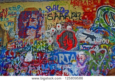 John lennon wall in Prague is located in the Velkoprevorske Namesti square near the French embassy in Malá Strana