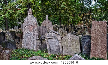 Tombstones in the Jewish cemetery in Prague