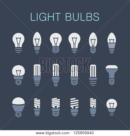 Light lamps icon collection. Light bulb and LED lamp. Vector illustration