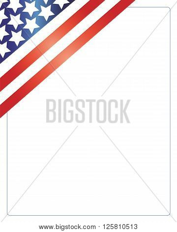 United States of America flag in the corner of the white background. Patriotic American frame.