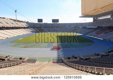 Barcelona Olympic Stadium (Estadi Olimpic Lluis Companys) on mountain Montjuic Spain