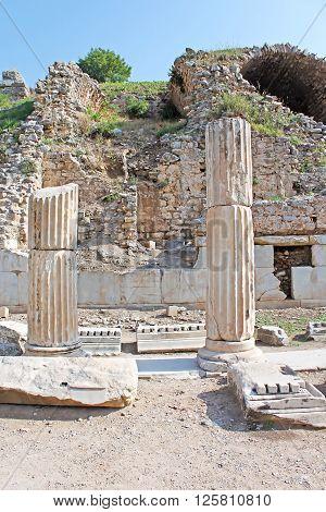 Famous ruins in old city Ephesus, Turkey