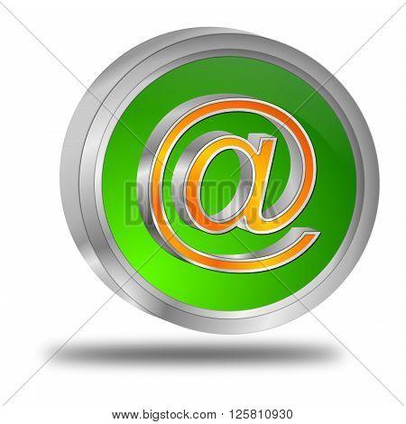 decorative glossy green E-Mail Button 3d Illustration