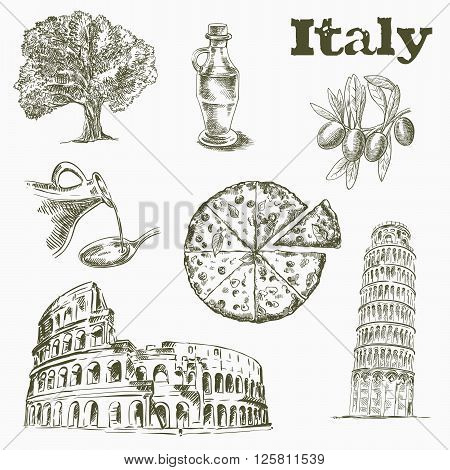 hand drawn sketches of Sights and culture in Italy on a white background
