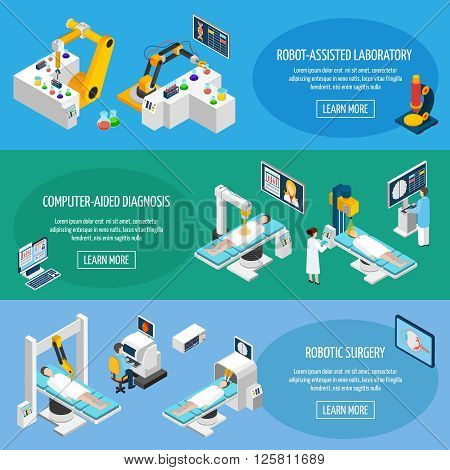 Robotic surgery banners set of robot assisted laboratory and computer aided diagnostic isometric icons vector illustration