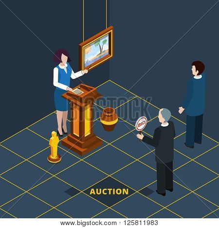 Isometric auction process abstract with bidding man and female auctioneer vector illustration