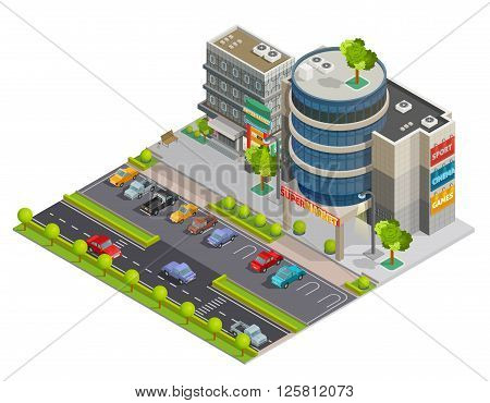 Modern downtown shopping center mall in business district street view with parking lot isometric composition illustration vector