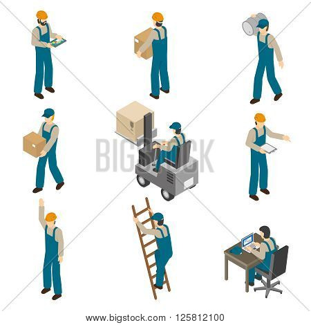 Delivery man in uniform at work carrying boxes and operating forklift isometric icons collection abstract isolated vector illustration