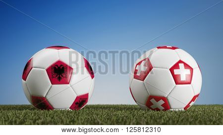 Football match Albania vs. Switzerland during european soccer game (3D Rendering)