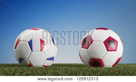 Football match France vs. Albania during european soccer game (3D Rendering)