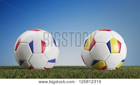 Football match France vs. Romania during european soccer game (3D Rendering)