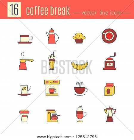 A collection of colorful coffee break icons vector. Funny icon with a black outline isolated on white background for your design on.
