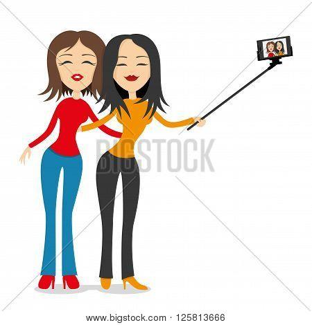 Two girlfriends make selfie portrait on smart phone.