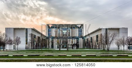 Chancellery during a cloudy afternoon in Berlin, Germany
