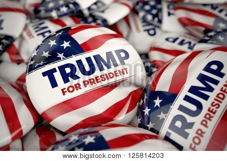 WASHINGTON, DC - APRIL 14, 2016: Illustration of presidential campaign buttons of Donald Trump with very shallow depth of field.