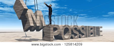 Concept conceptual 3D illustration of business man standing over abstract stone impossible text on sky background banner