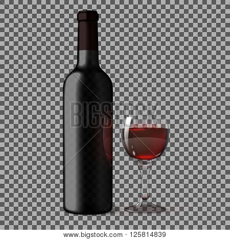 Transparent blank black realistic bottle for red wine isolated on plaid background with glass of red wine. Vecto