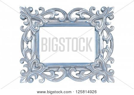 Silver blue carved picture frame isolated over white with clipping path.