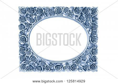 Blue carved picture frame isolated over white with clipping path.