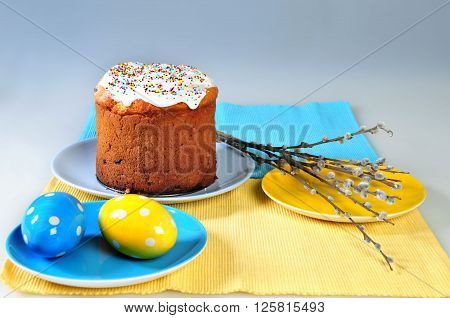 Traditional easter cake. Easter cake and easter eggs isolated. shallow depth of field