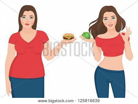 Fat and slim woman before and after weight loss Stock vector illustration