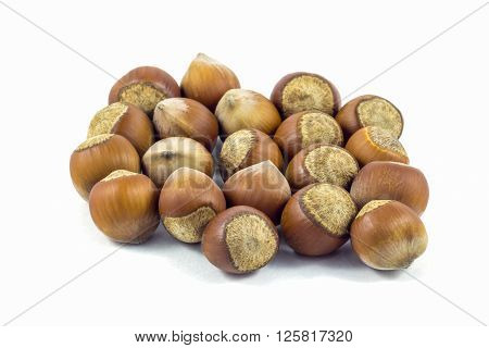Hazelnuts on white background, hazelnuts from Georgia.