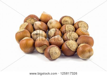 Hazelnuts on white background, hazelnuts from Geogria.