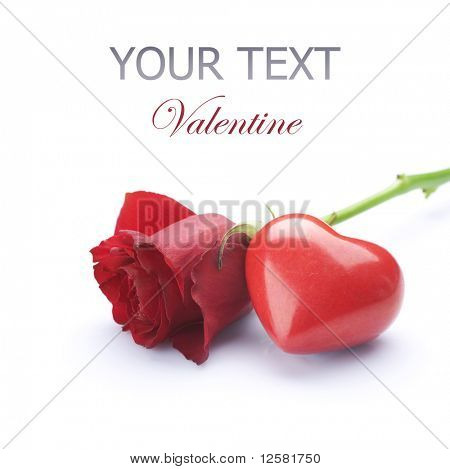 Valentine concept.Red Rose and Heart over white