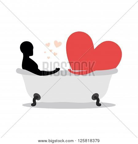 Heart Of Man In Bath. Man And Symbol Of Love Is Taking A Bath. Joint Bathing. Passion Feelings Among
