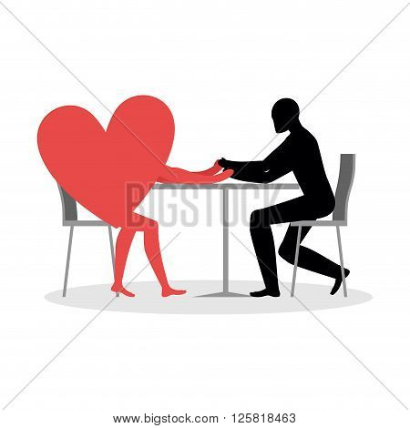 Lover In Cafe. Man And Heart Sits At Table. Love In Restaurant. Lovers In  Dining Room. Romantic Dat