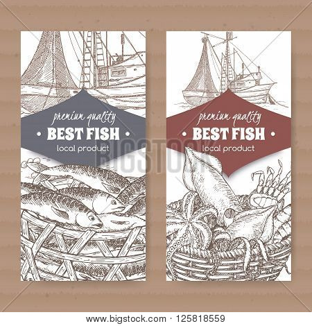 Set of two labels with fishing boat, fish and seafood basket placed on cardboard texture. Great for markets, fishing, fish processing, canned fish, seafood product label design.