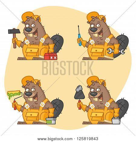 Vector illustration, Beaver Master in Different Versions Part 3, format EPS 8