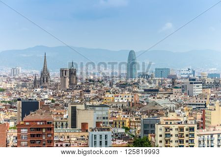 Barcelona Spain - May 18 2014: View from Montjuic over Barcelona Spain.