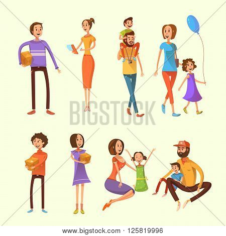 Family and children cartoon set with weekend activities and moving houses symbols on yellow background cartoon isolated vector illustration