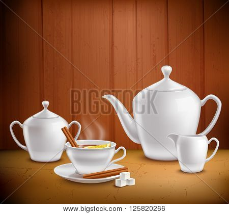 Tea set composition with pot hot teacup and milk jug on table near wooden wall vector illustration