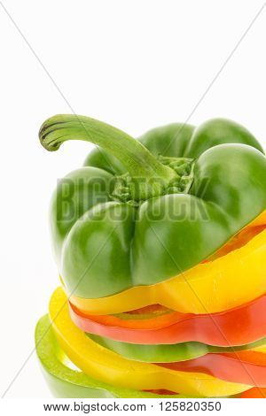 Fresh Bell Pepper Sliced Into Colorful Rings Closeup, Isolated On White Background.