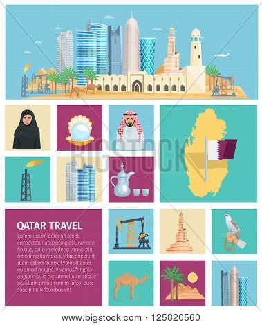 Qatar culture flat icon set with traditional objects symbols and nature in colored square frames vector illustration