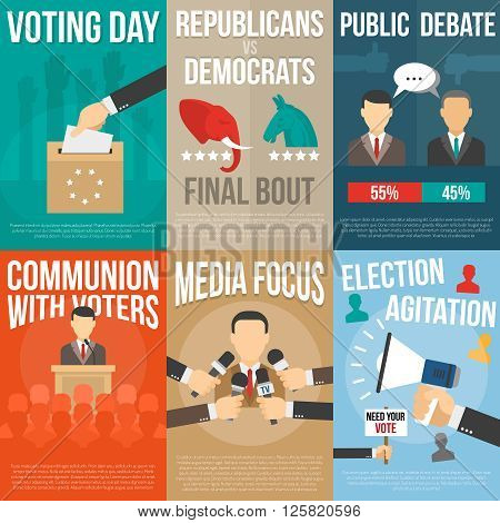 Set of color posters with title about agitation voting and election government isolated vector illustration
