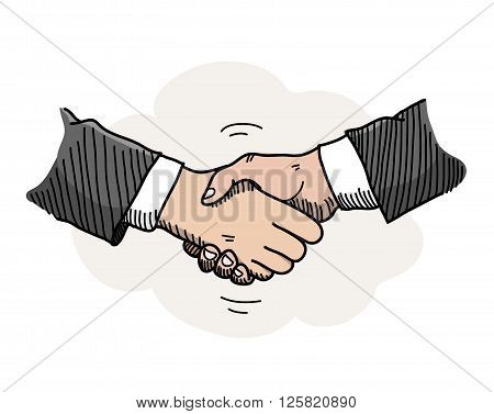 Handshake, a hand drawn vector doodle illustration of hands shaking to a mutual agreement in a business partnership.