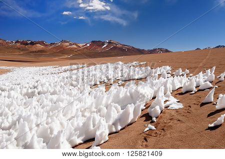 South America - The surreal landscape in the Eduardo Avaroa National Reserve of Andean Fauna near Chilean border. The picture sonw on the desert