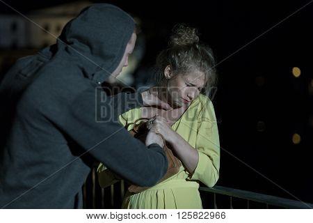 Criminal Strangling Woman