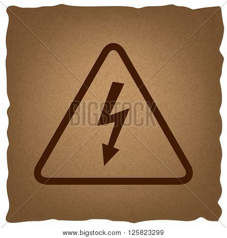 High voltage danger sign. Coffee style on old paper.