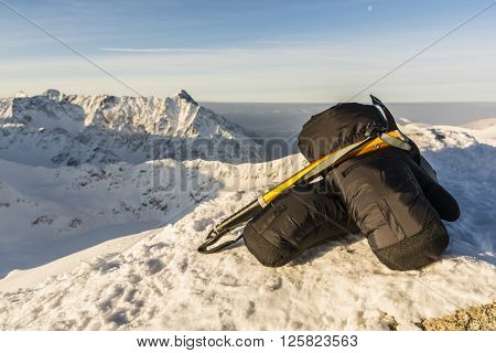 Mittens And Ice Axe In The Tatras.