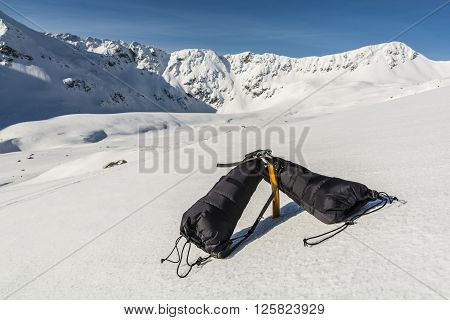 Mittens Clipped Carabiner For Ice Axe.