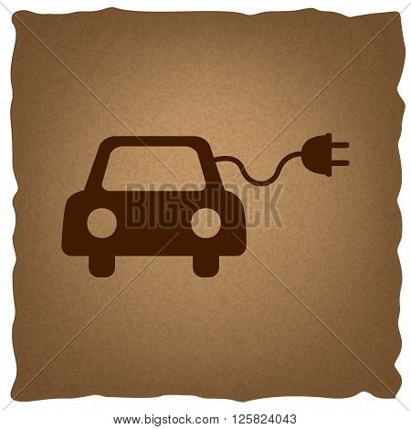 Eco electric car sign. Coffee style on old paper.