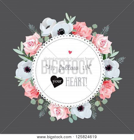 Stylish floral vector design frame. Anemone rose pink flowers. Colorful floral objects. All elements are isolated and editable.