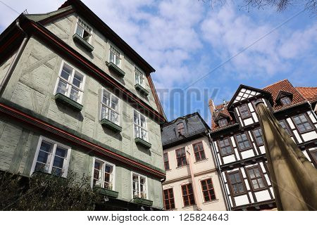 Historic timber buildings in Wernigerode. Saxony-Anhalt. Germany