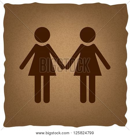 Lesbian family sign. Coffee style on old paper.